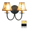 Steel Partners Rivets 13-in W 2-Light Black Arm Hardwired Wall Sconce
