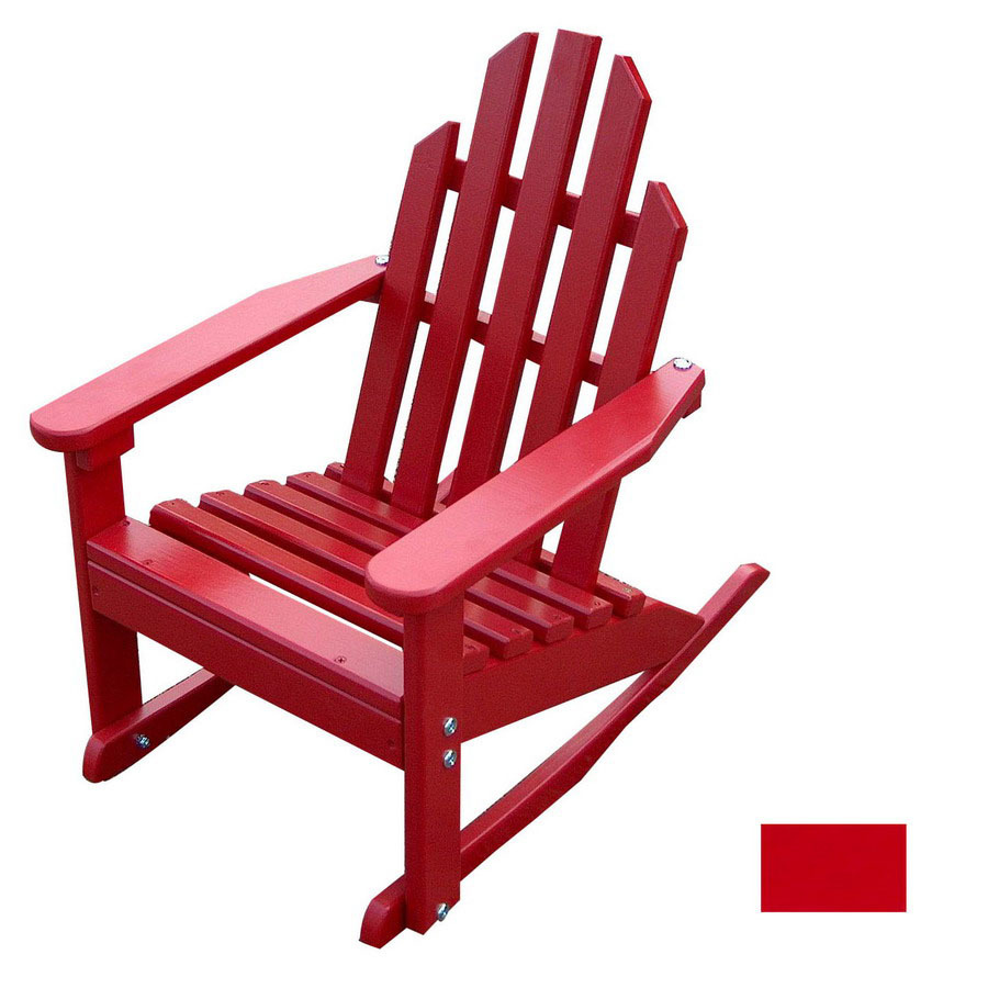 ... Design Fire Engine Red Wood Rocking Adirondack Chair at Lowes.com