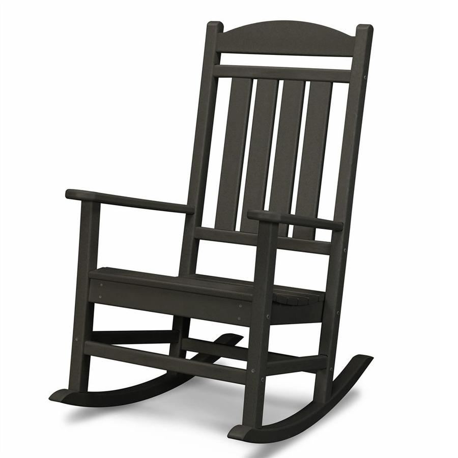 ... Black Recycled Plastic Slat Seat Outdoor Rocking Chair at Lowes.com