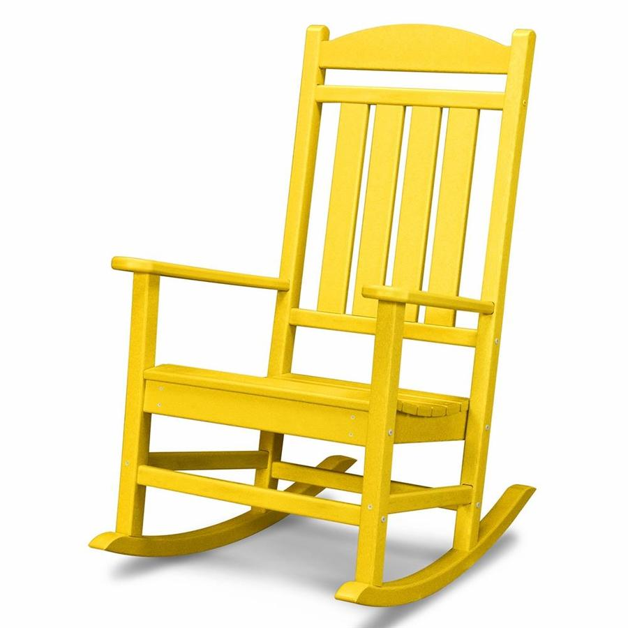 Shop polywood lemon recycled plastic slat seat outdoor for Rocking chairs for porch