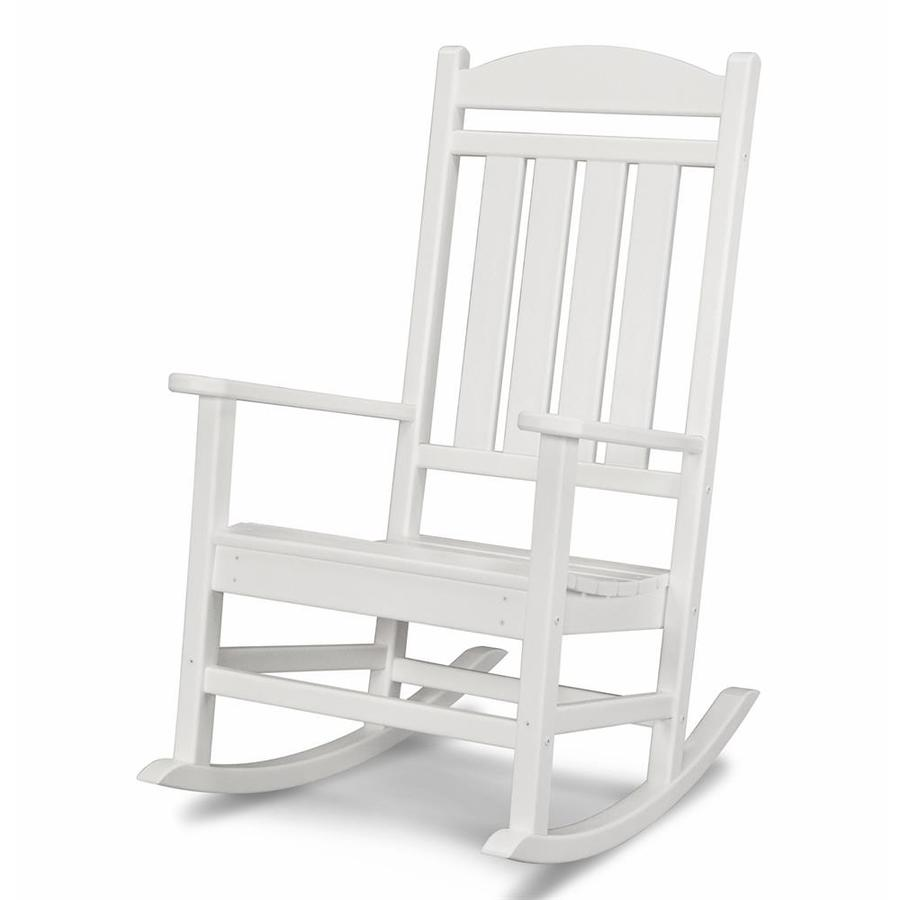 ... White Recycled Plastic Slat Seat Outdoor Rocking Chair at Lowes.com