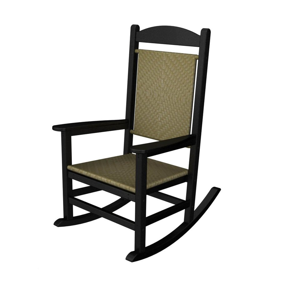 Shop POLYWOOD Black Seagrass Recycled Plastic Woven Seat Outdoor Rocking Chai