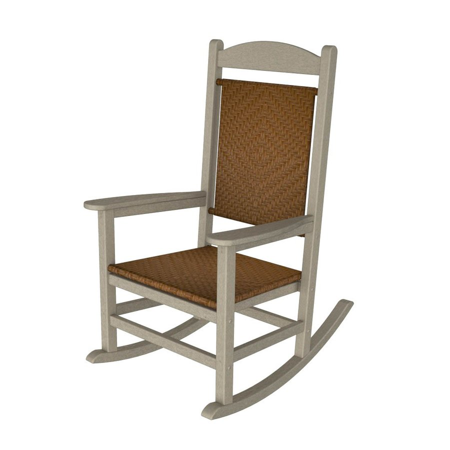shop polywood sand tigerwood recycled plastic woven seat outdoor rocking chair at. Black Bedroom Furniture Sets. Home Design Ideas