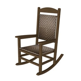 POLYWOOD Teak/Cahaba Recycled Plastic Woven Seat Outdoor Rocking Chair ...