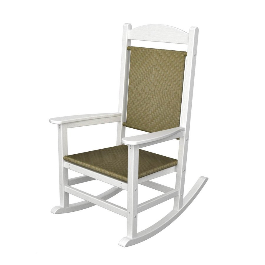 Shop POLYWOOD White Seagrass Recycled Plastic Woven Seat Outdoor Rocking Chai
