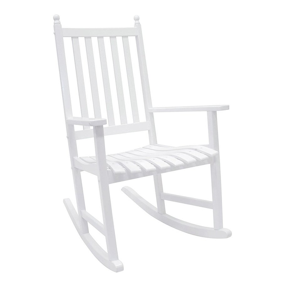 Shop ACHLA Designs White Wood Slat Seat Outdoor Rocking Chair at Lowes ...