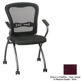 Office Star Set of 2 Proline II Pleasure Suede Wine Task Folding Office Chairs
