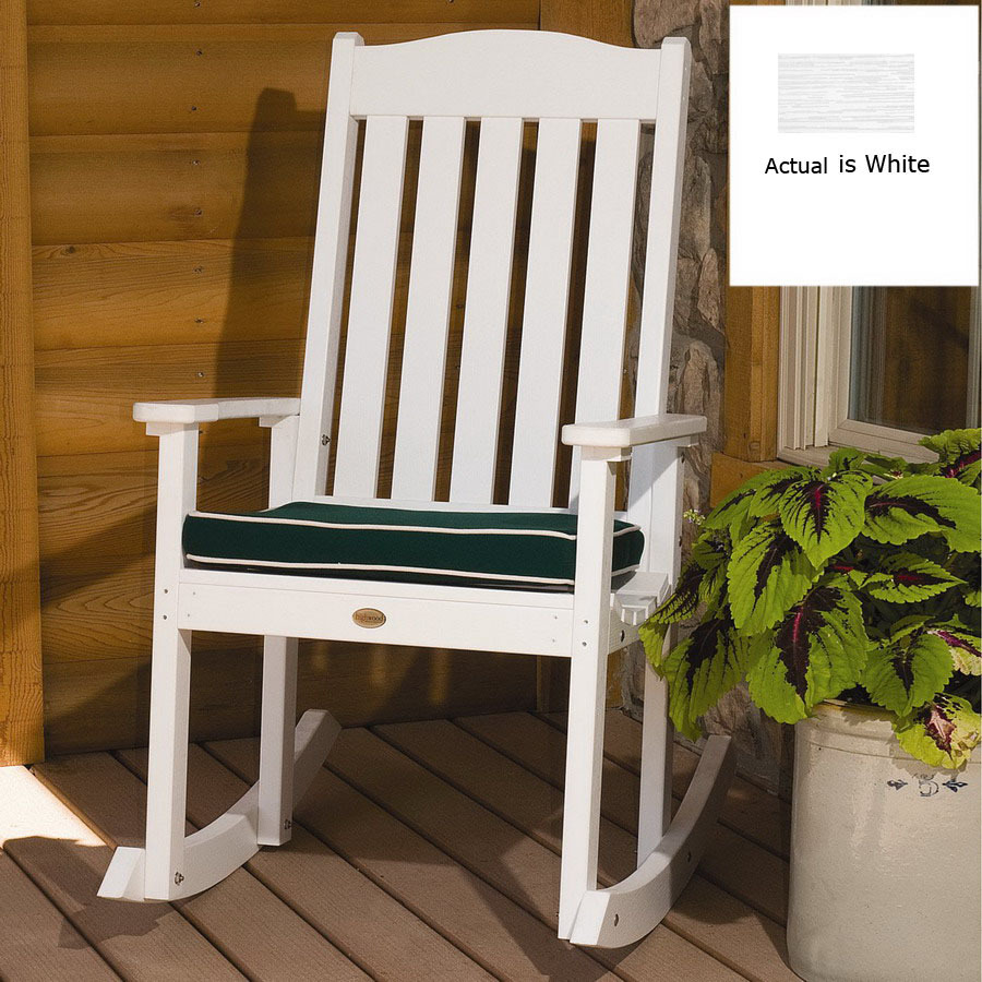 ... Highwood USA White Wood Slat Seat Outdoor Rocking Chair at Lowes.com