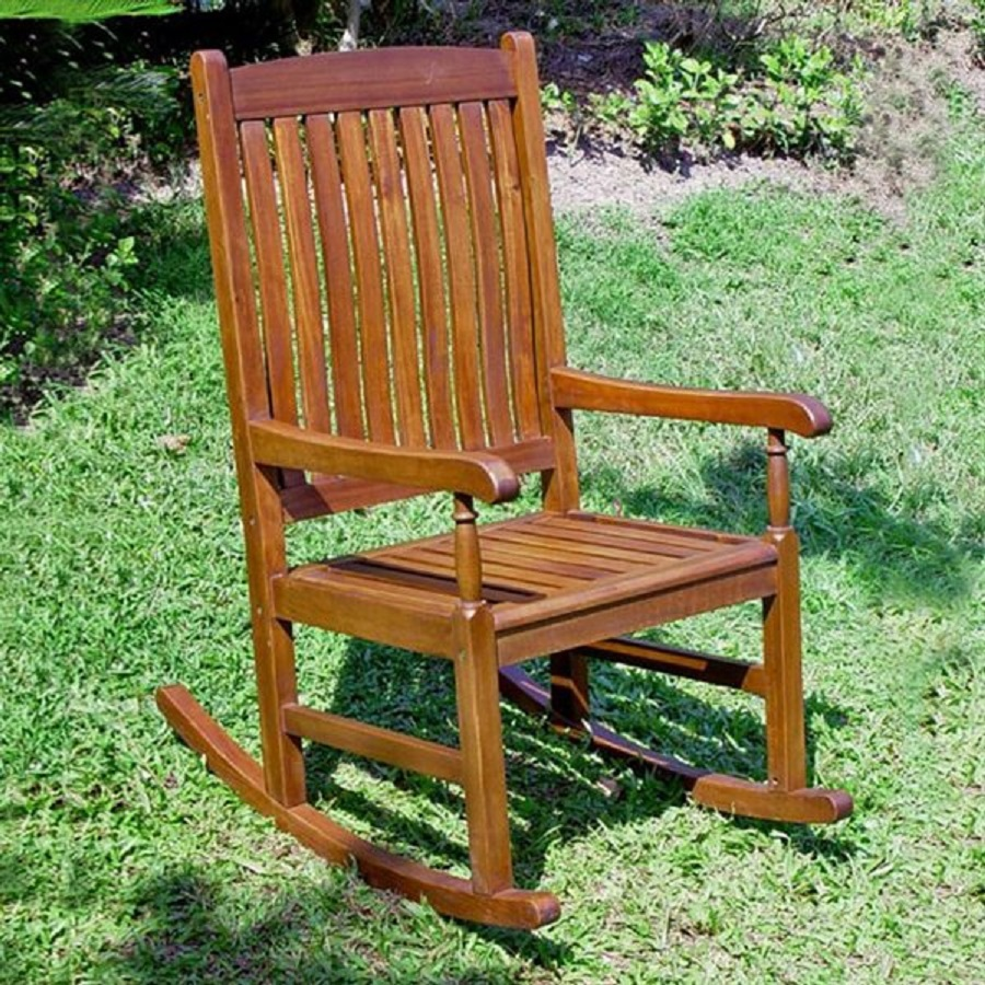 shop international caravan oil acacia wood slat seat outdoor rocking chair at. Black Bedroom Furniture Sets. Home Design Ideas
