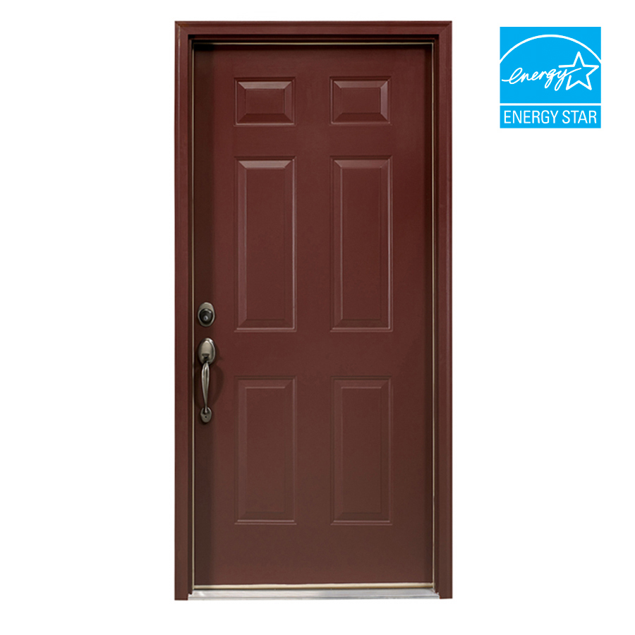 Shop reliabilt 6 panel prehung outswing steel entry door for 6 panel doors