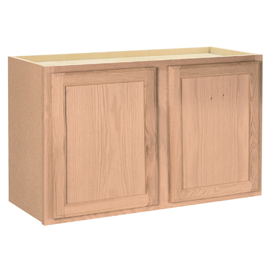 Unfinished Brown Oak Double Door Kitchen Wall Cabinet At