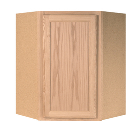 Project Source 23.75-in W x 30-in H x 11.9375-in D Unfinished Brown Oak Corner Wall Cabinet
