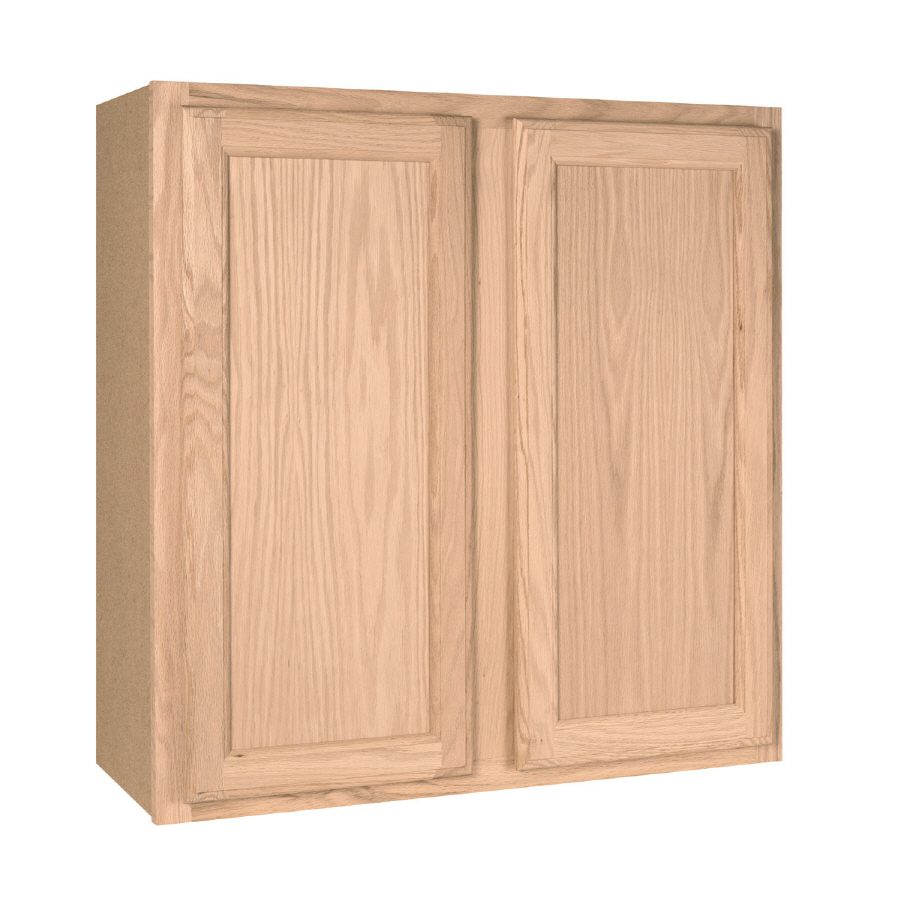... Unfinished Brown Oak Double Door Kitchen Wall Cabinet at Lowes.com