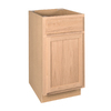 Project Source 18-in W x 34.5-in H x 24-in D Unfinished Brown Oak Door and Drawer Base Cabinet