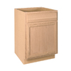 Project Source 24-in W x 34.5-in H x 24-in D Unfinished Brown Oak Door and Drawer Base Cabinet