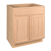 Project Source 30-in W x 34.5-in H x 24-in D Unfinished Brown Oak Door and Drawer Base Cabinet