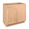 Project Source 36-in W x 34.5-in H x 24-in D Unfinished Brown Oak Sink Base Cabinet