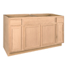 Project Source 60-in W x 34.5-in H x 24-in D Unfinished Brown Oak Sink Base Cabinet