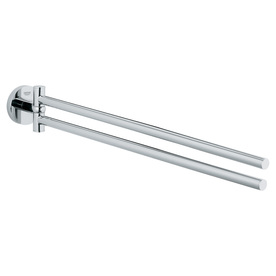 Shop GROHE Essentials Starlight Chrome Double Towel Bar Common 18 In Actua