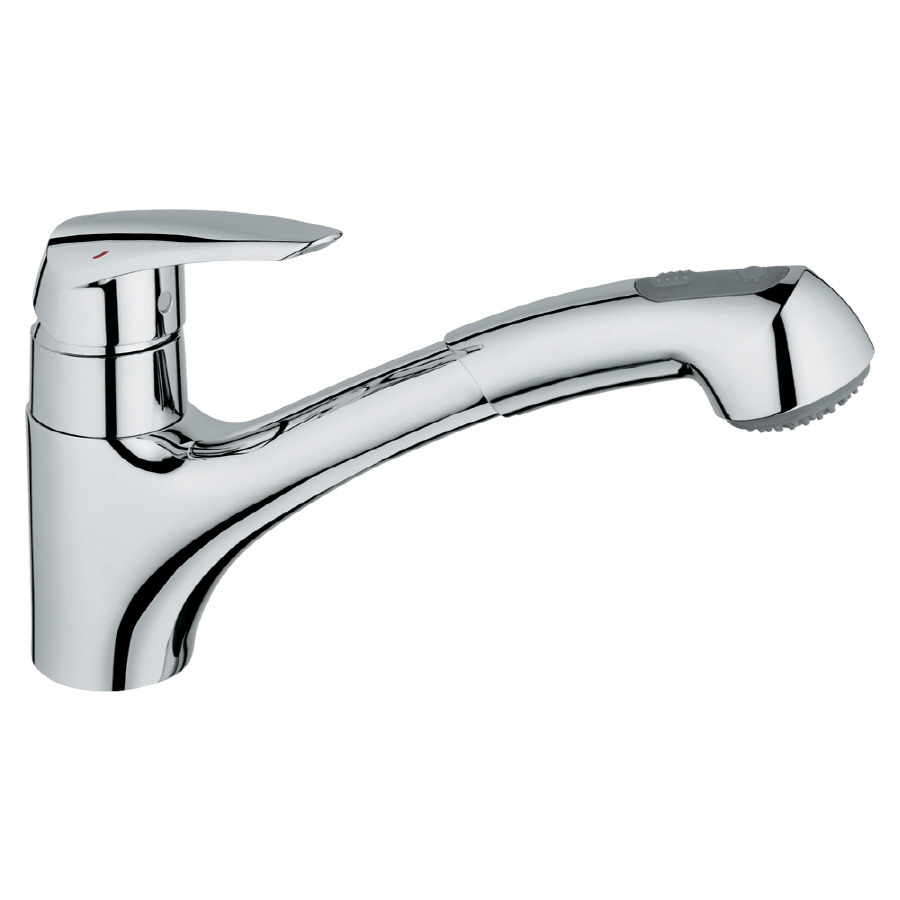 shop grohe eurodisc chrome pull out kitchen faucet at shop grohe eurodisc stainless steel 1 handle pull out