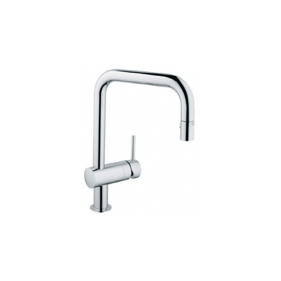 shop grohe minta chrome pull down kitchen faucet at lowes com