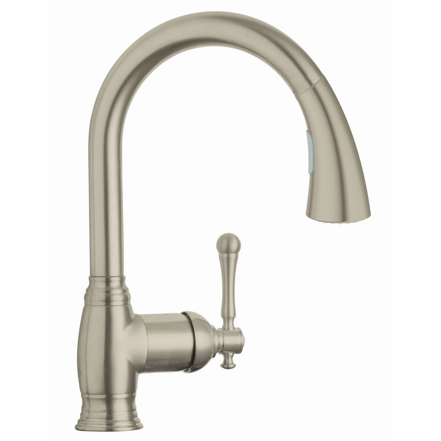 Shop grohe bridgeford brushed nickel pull down kitchen for Grohe faucets