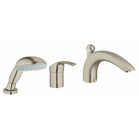 GROHE Eurosmart Nickel 1-Handle Adjustable Deck Mount Bathtub Faucet