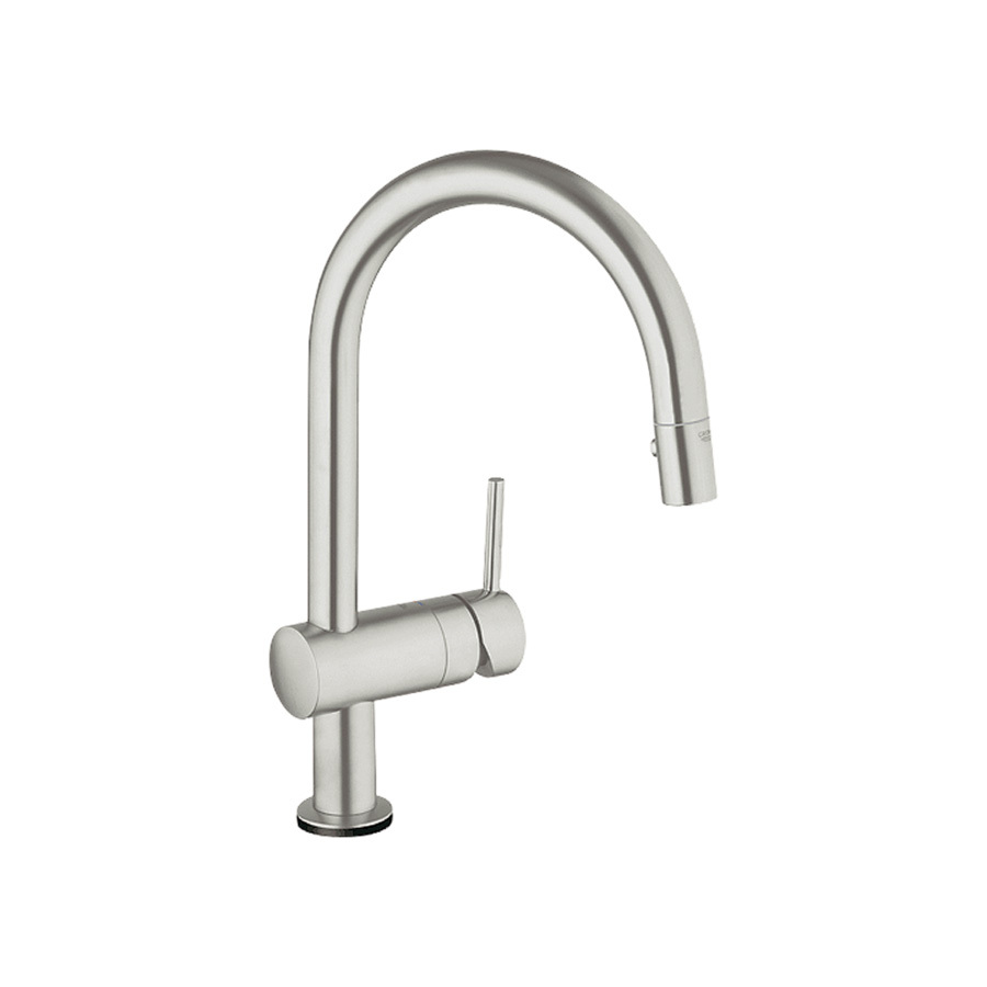 shop grohe minta touch supersteel pull down kitchen faucet