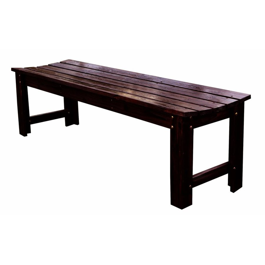 Shop Shine Company 18 5 In L Burnt Brown Wood Patio Bench At