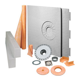 Schluter Systems KERDI-SHOWER-KIT 32-in x 60-in Off-CTR BRSH Nickel - PVC