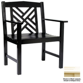 ACHLA Designs Antique Ivory Slat Seat Wood Patio Dining Chair