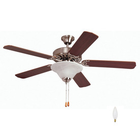 Yosemite Home Decor 52-in Builder Brushed Steel Ceiling Fan with Light Kit