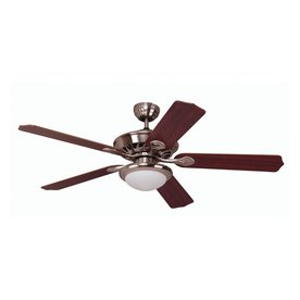 Yosemite Home Decor 52-in Lindsey Brushed Steel Ceiling Fan with Light Kit and Remote