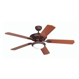 Yosemite Home Decor 52-in Lindsey Oil-Rubbed Bronze Ceiling Fan with Light Kit and Remote