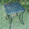 International Caravan 20-in x 20-in Black Wrought iron Square Patio Side Table