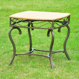 International Caravan 21.75-in x 21.75-in Steel Square Patio Side Table
