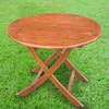 International Caravan 38-in W x 38-in L Oiled Acacia Wood Round Folding Dining Table
