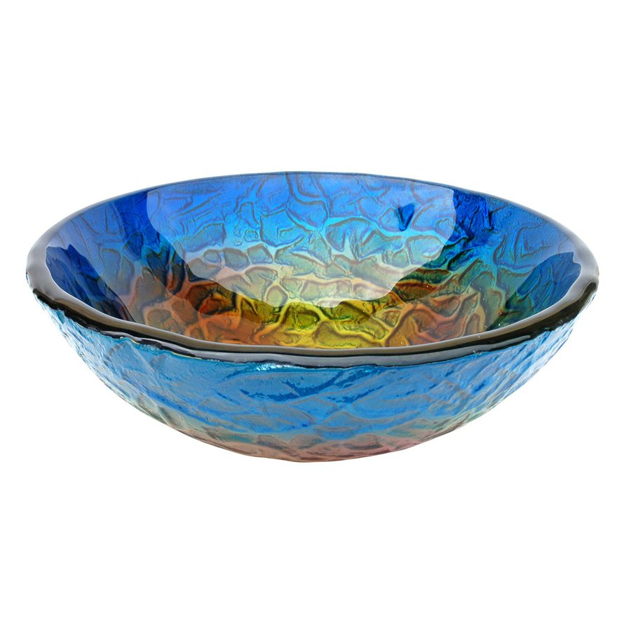 Shop Eden Bath Blue Glass Round Vessel Sink at Lowes.com
