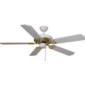 Volume International 52-in Marti Polished Brass And White Ceiling Fan ENERGY STAR