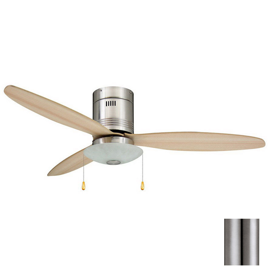 Shop Yosemite Home Decor Royale 52 In Brushed Nickel Flush Mount Ceiling Fan With Light Kit At
