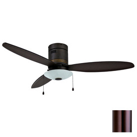 Yosemite Home Decor Royale 52-in Oil-Rubbed Bronze Flush Mount Ceiling Fan with Light Kit