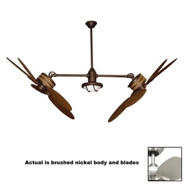 Yosemite Home Decor Twin Peaks 47-in Brushed Nickel Indoor Downrod Mount Ceiling Fan with Light Kit and Remote