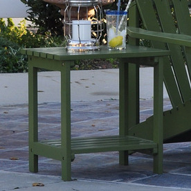Shine Company 19.75-in x 14-in Sage Green Cedar Rectangle Patio Side Table