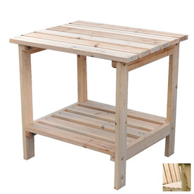 Shine Company 23.75-in x 16-in Natural Cedar Rectangle Patio Side Table