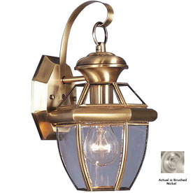 Livex Lighting Monterey 12-1/2-in Brushed Nickel Outdoor Wall Light