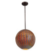 Access Lighting 14-in W Safari Bronze Art Glass Pendant Light with Ribbed Shade