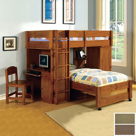Furniture of America Harford Oak Twin Bunk Bed CM-BK529OAK