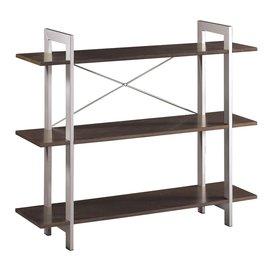 Office Star Osp Designs Espresso Silver Accents 47.25-in W x 41-in H x 12.5-in D 3-Shelf Bookcase