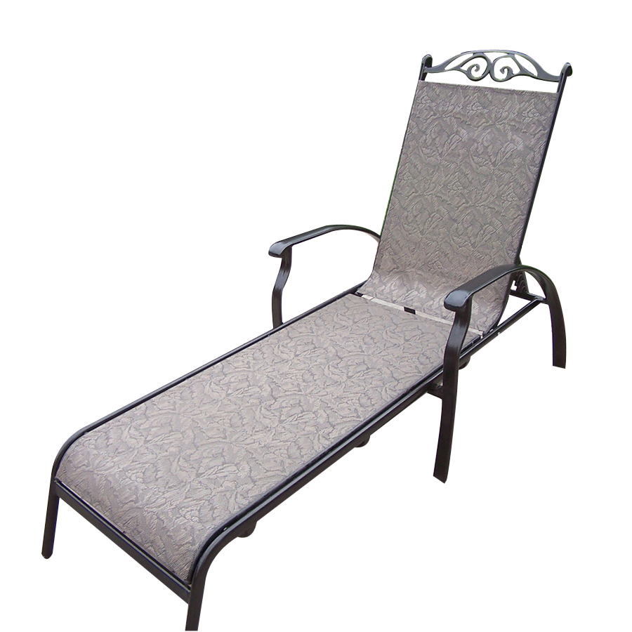 Shop oakland living sling cast aluminum patio chaise for Aluminum outdoor chaise lounge