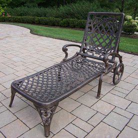 Oakland Living Mississippi Slat Seat Aluminum Patio Chaise Lounge 2108-AB